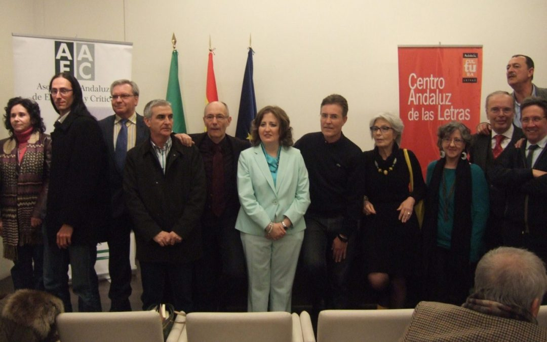con algunos miembros del jurado del Premio Andalucía de la Crítica en 2016